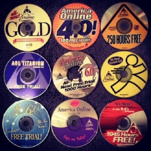 AOL disks from 1999 - 2003 for versions 4.0, 5.0, 6.0, 7.0, and 9.0. Thanks AOL for getting America online! via photopin (license)